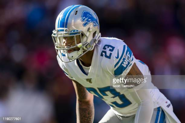 Darius Slay of the Detroit Lions lines up against the Washington Redskins during the first half at FedExField on November 24, 2019 in Landover,...