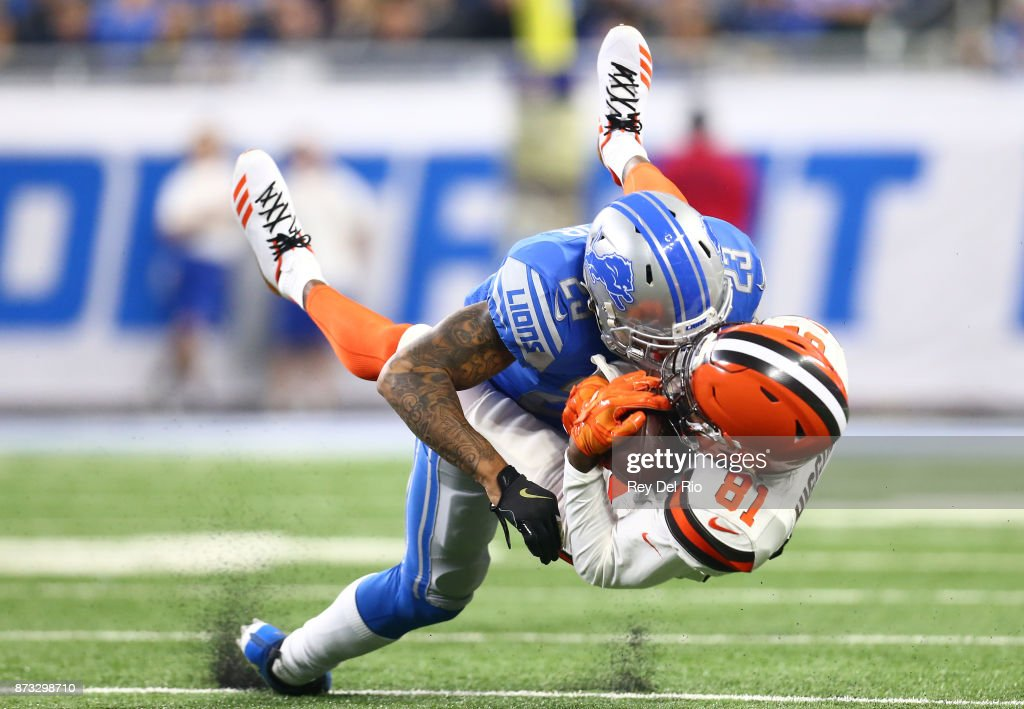 Darius Slay #23 of the Detroit Lions makes a tackle against Rashard Higgins #81 of the Cleveland Browns during the first half at Ford Field on November 12, 2017 in Detroit, Michigan.