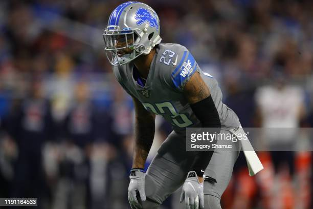 Darius Slay of the Detroit Lions plays against the Chicago Bears at Ford Field on November 28, 2019 in Detroit, Michigan.