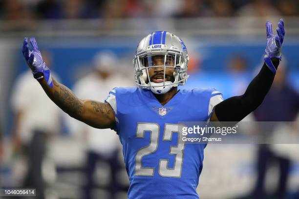 Darius Slay of the Detroit Lions reacts while playing the New England Patriots at Ford Field on September 23 2018 in Detroit Michigan