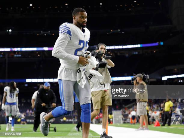Darius Slay of the Detroit Lions runs off the field after the preseason game against the Houston Texans at NRG Stadium on August 17 2019 in Houston...