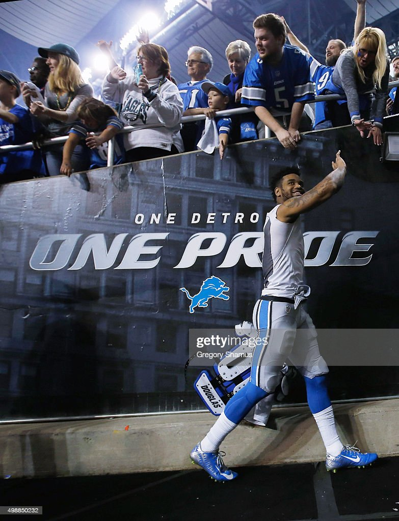 Darius Slay #23 of the Detroit Lions walks off the field after defeating the Philadelphia Eagles 45-14 at Ford Field on November 26, 2015 in Detroit, Michigan.
