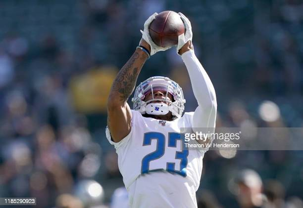 Darius Slay of the Detroit Lions warms up during pregame warm ups prior to the start of his game against the Oakland Raiders at RingCentral Coliseum...