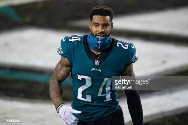 Darius Slay of the Philadelphia Eagles walks off the field after the game against the Seattle Seahawks at Lincoln Financial Field on November 30,...