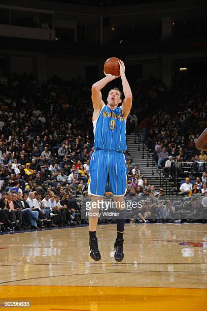 Darius Songalia of the New Orleans Hornets connects on an open jump shot against the Golden State Warriors on October 22 2009 at Oracle Arena in...