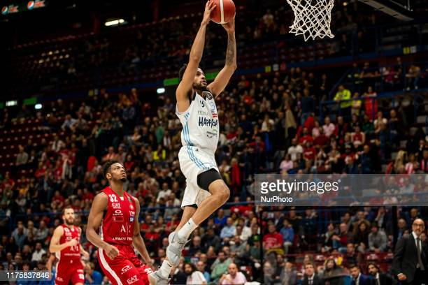 Darius Thompson shoots a layup during a basketball game of LBA between A|X Armani Exchange Milano v Happy Casa Brindisi at Mediolanum Forum Assago,...