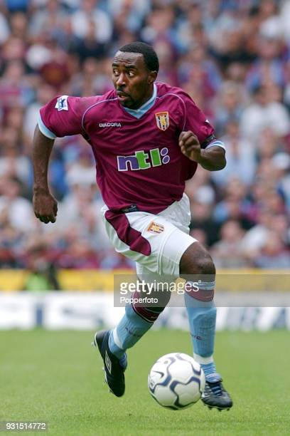 Darius Vassell of Aston Villa runs with the ball during the FA Barclaycard Premiership match between Aston Villa and Manchester United at Villa Park...