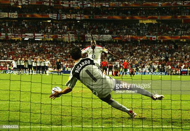 Darius Vassell of England has his penalty saved by goalkeeper Ricardo of Portugal during the UEFA Euro 2004 Quarter Final match between Portugal and...