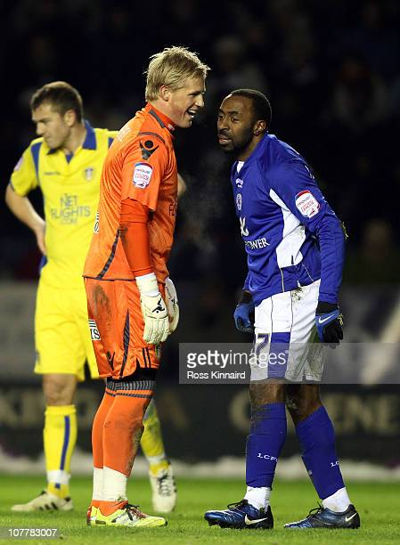 Darius Vassell of Leicester and Kasper Schmeichel of Leeds during the npower Championship match between Leicester City and Leeds United at the...