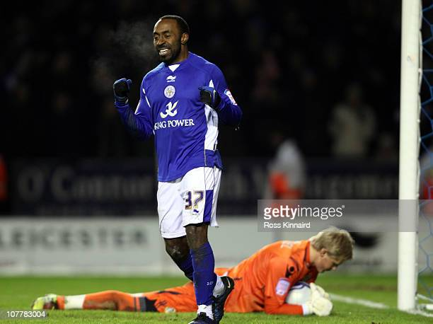Darius Vassell of Leicester celebrates after the second goal during the npower Championship match between Leicester City and Leeds United at the...