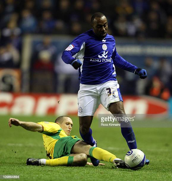 Darius Vassell of Leicester is challenged by Zak Whitbread of Norwich during the npower Championship match between Leicester City and Norwich City at...