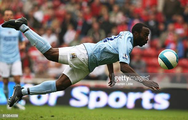 Darius Vassell of Manchester City has a failed strike at goal during the Barclays Premier League Match between Middlesbrough and Manchester City at...