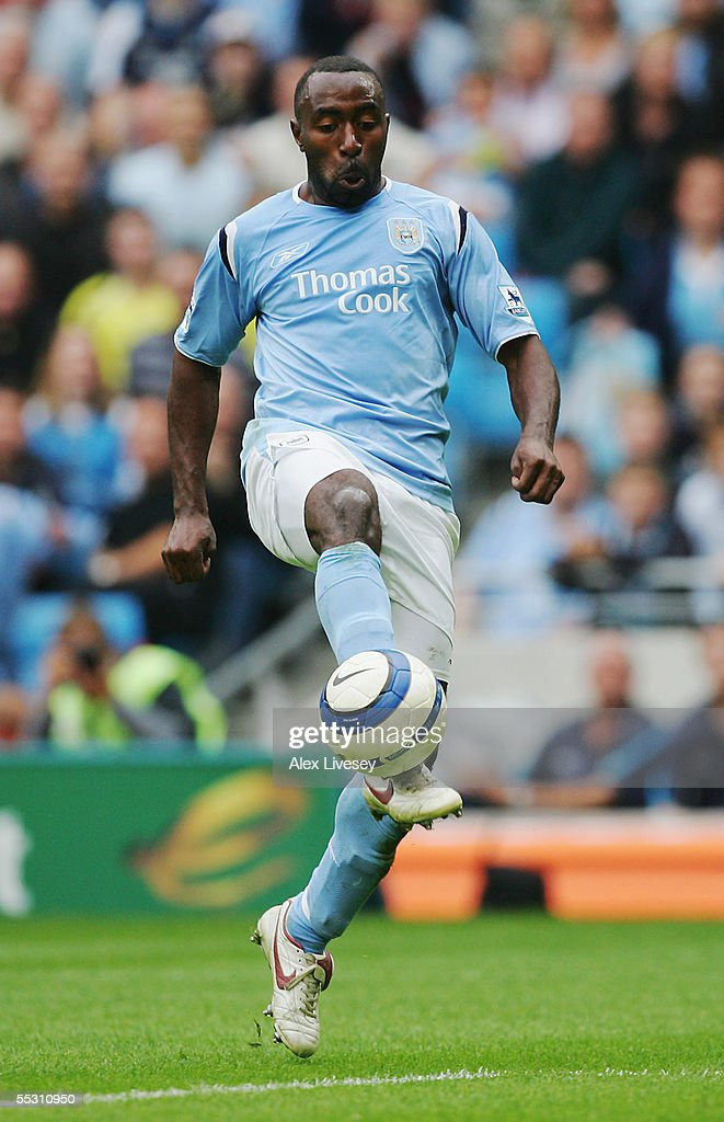 Darius Vassell of Manchester City in action during the Barclays Premiership match between Manchester City and Portsmouth at the City of Manchester Stadium on August 27, 2005 in Manchester, England.