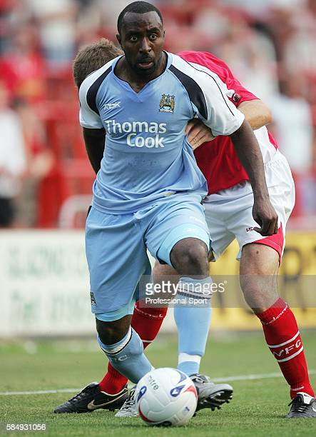 Darius Vassell of Manchester City in action during the preseason friendly match between Wrexham and Manchester City at the Racecourse Ground in...