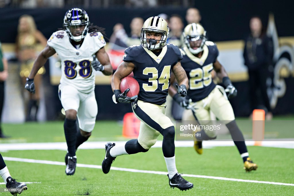 Darius Victor #34 of the New Orleans Saints runs the ball during a preseason game against the Baltimore Ravens at Mercedes-Benz Superdome on August 31, 2017 in New Orleans, Louisiana. The Ravens defeated the Saints 14-13.
