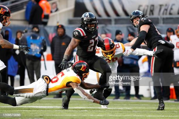 Darius Victor of the New York Guardians makes a run against the Los Angeles Wildcats during the second half of their XFL game at MetLife Stadium on...