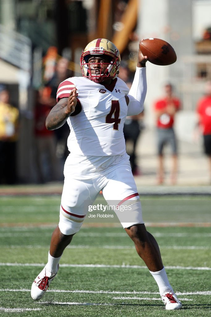 Darius Wade #4 of the Boston College Eagles throws a pass in the fourth quarter of a game against the Louisville Cardinals at Papa John's Cardinal Stadium on October 14, 2017 in Louisville, Kentucky. Boston College won 45-42.