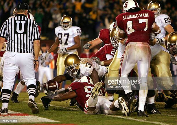 Darius Walker of Notre Dame reaches accross the line for the game winning touchdown against Stanford during a game at Stanford University on November...