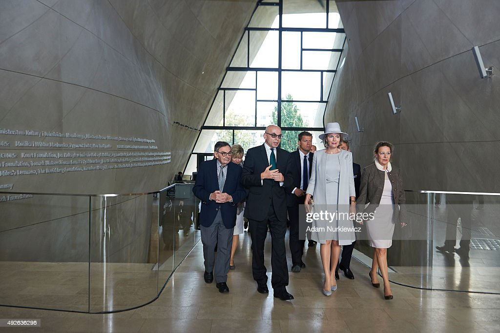 Dariusz Stola - Director of The Museum of the History of Polish Jews and (R) Queen Mathilde of Belgium visit The Museum of the History of Polish Jews as part of official Royal visit in Poland on October 14, 2015 in Warsaw, Poland.