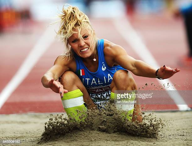 Dariya Derkach of Italy in action during the qualifying round for the womens triple jump on day three of The 23rd European Athletics Championships at...