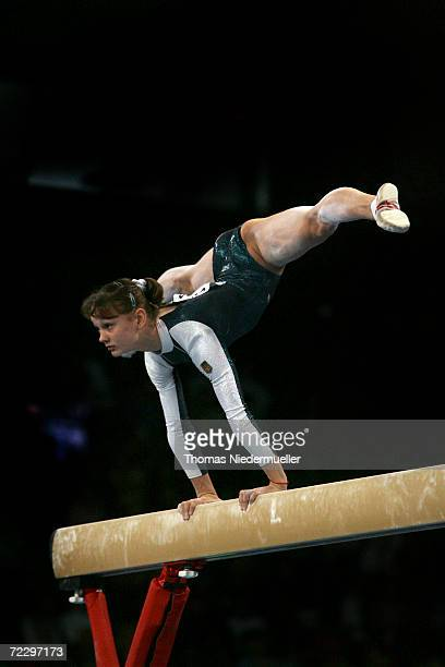 Dariya Zgoba of teh Ukraine performs at the beam competition during the 2006 International Gymnastics DTB Cup at the Schleyer Hall on October 29 2006...