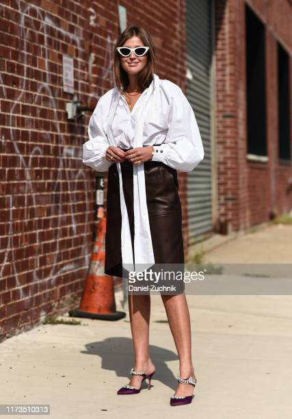 Darja Barannik is seen wearing a Phillip Lim outfit outside the Phillip Lim show during New York Fashion Week S/S20 on September 09 2019 in Brooklyn...
