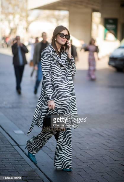 Darja Barannik is seen wearing zebra coat and flared pants outside Roland Mouret during London Fashion Week February 2019 on February 17 2019 in...