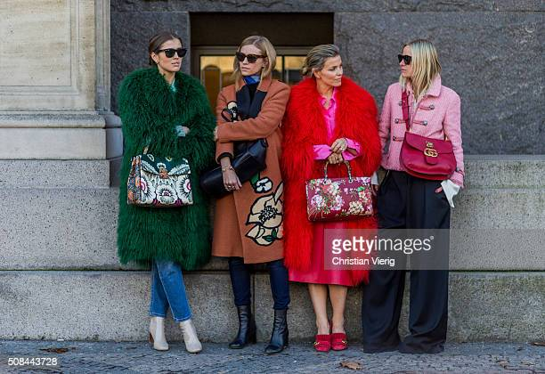 Darja Barannik, Tine Andrea, Janka Polliani, Celine Aargaard outside By Malene Birger during the Copenhagen Fashion Week Autumn/Winter 2016 on...