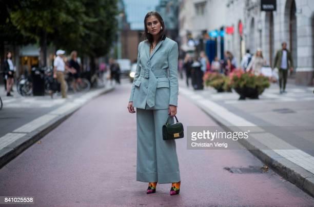 Darja Barannik wearing a pastel suit outside Rodebjer on August 30 2017 in Stockholm Sweden