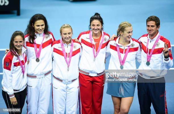 Darja Kasatkina Margarita Gasparyan Anastasija Potapowa Igor Andreev Natalia Vikhlyantseva and Anastasia Pavlyuchenkova of Russia they get medals for...