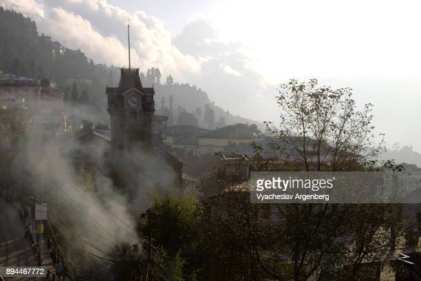 darjeeling city center at dusk, clock tower - argenberg stock pictures, royalty-free photos & images