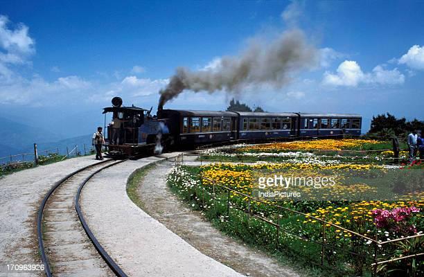 Darjeeling Himalayan Railway train standing at Batasia Loop Darjeeling West Bengal India