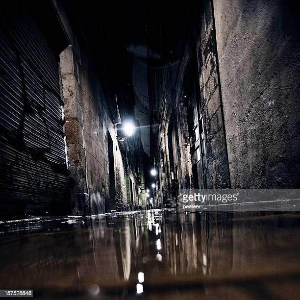 dark alley. - alley stock photos and pictures