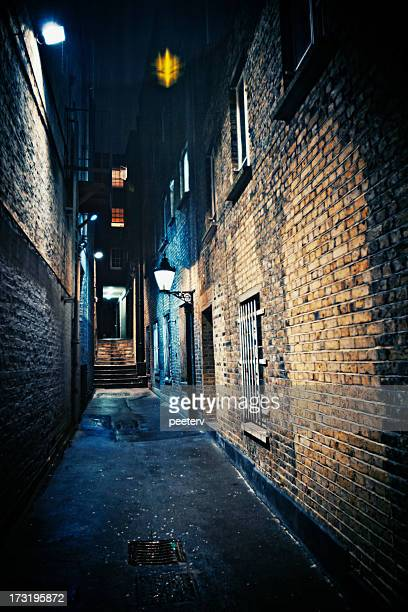 dark alley - alley stock photos and pictures