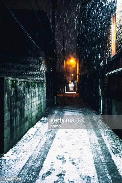 Dark alley snowfall - Pittsburgh, PA