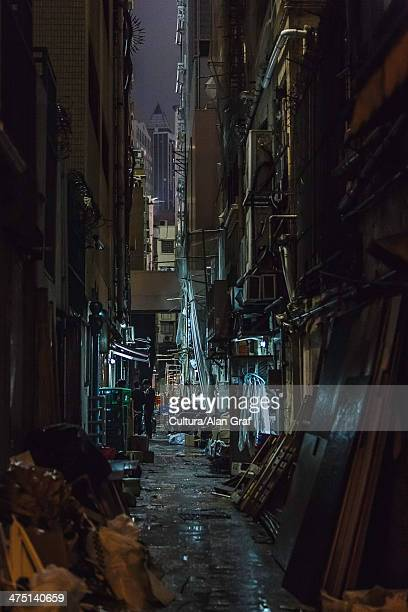 Dark alleyway at night, Hong Kong, China