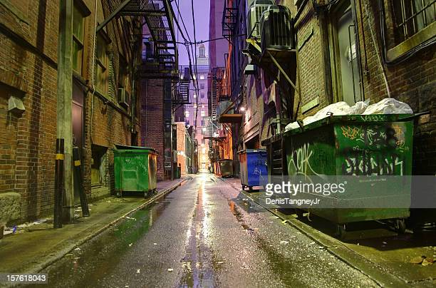 dark alleyway - alley stock photos and pictures
