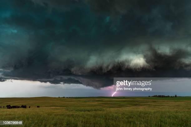Dark and Low severe thunderstorm, North Dakota. USA