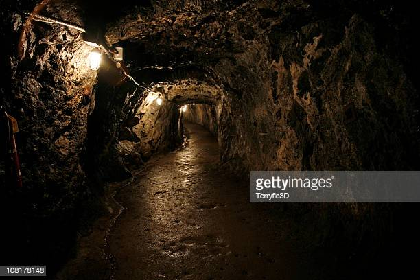 dark and wet sterling hill mine tunnel - cave stock pictures, royalty-free photos & images
