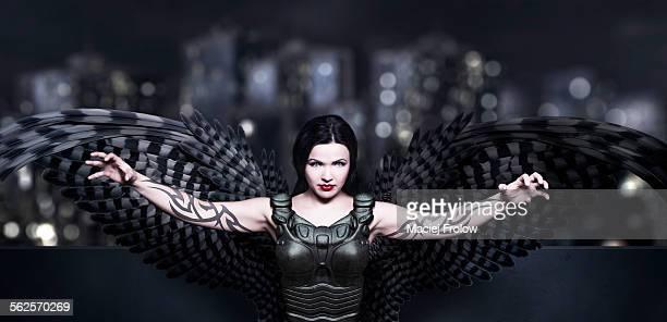 Dark angel with armor and tatoo