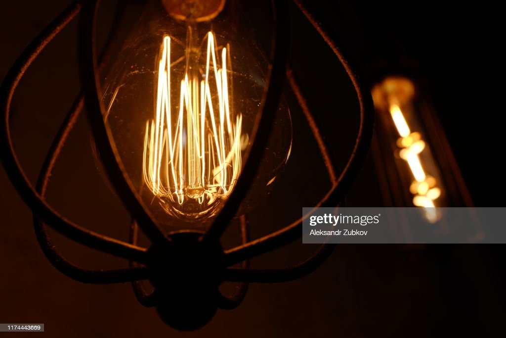 Dark Background With Glass Retrobulb Edison Wallpapers With Designer Lamp Of Edison Designer Light And Lighting In Interiors Creation Of Unique Lighting Of Rooms And Interiors High Res Stock Photo Getty Images