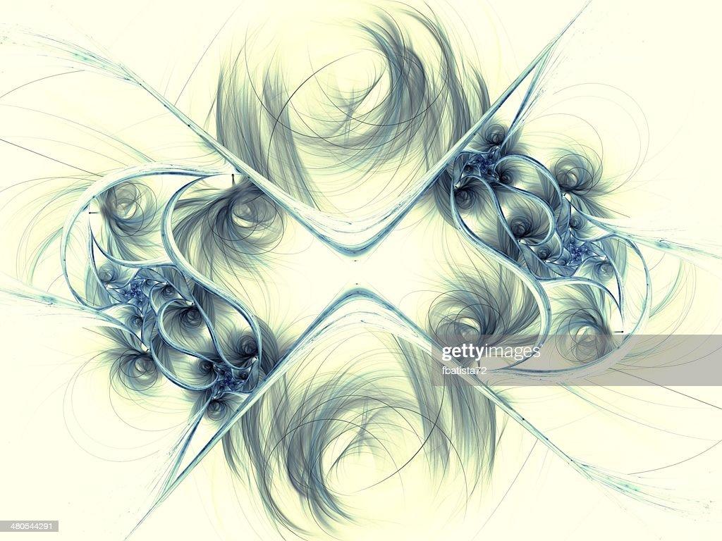 Dark blue fractal flower pattern : Stock Photo