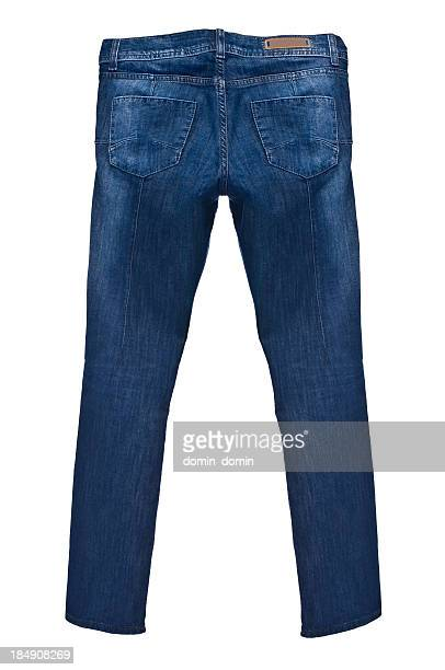 Dark blue jeans isolated on white background, rear view