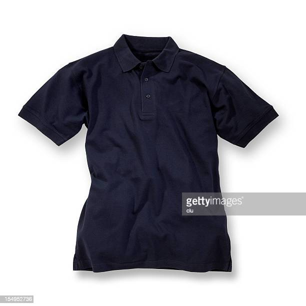 Dark blue polo shirt on white background