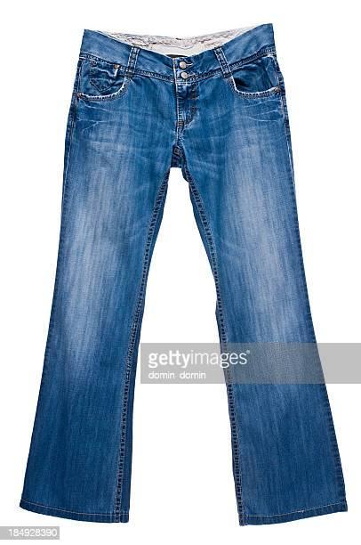 azul escuro mulher de jeans isolado no fundo branco, vista traseira - jeans calça comprida - fotografias e filmes do acervo