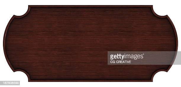 Dark brown wooden nameplate against a white background