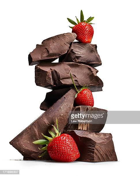 Dark chocolate and strawberries