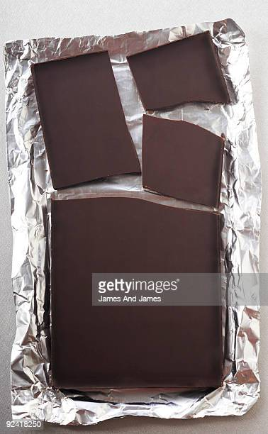 Dark Chocolate Bar in Broken Pieces