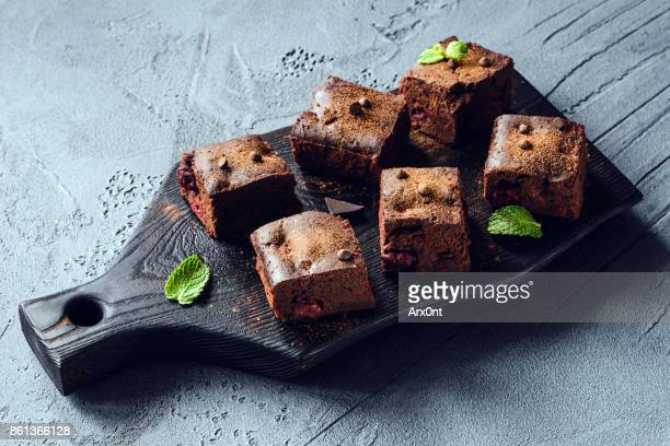 Dark chocolate brownies with cherry
