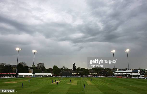 Dark clouds approach during the Friends Provident Trophy match between Essex and Sussex at The County Ground on April 27 2008 in Chelmsford England
